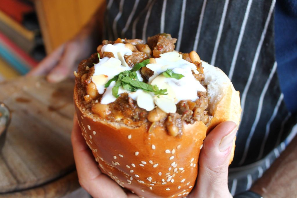 Bunny Chow African street food in Carmel Market